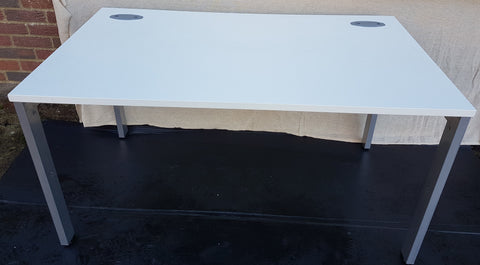 Single Desk White Top Silver Grey Metal Legs