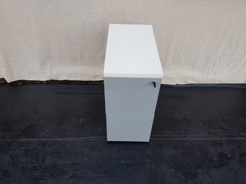 Metal 3 Drawer Pedestal With Castors, Lock and Key
