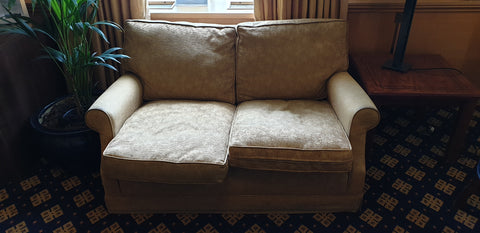 2 seater sofa in yellow ** 2 Available** Very cosy and comfortable
