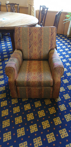 Single seater armchair with funky pattern fabric perfect for any area