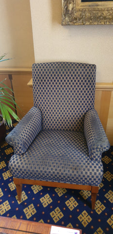 Armchair blue chequered fabric - Upright sturdy design **WOODEN BASE**