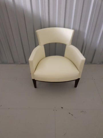 David Edward Gotham Lounge Chair Maple Wood Cream Upholstery