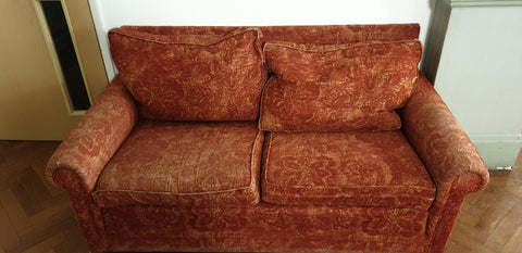 2 seater sofa in red patterned fabric - ** Ideal for re-upholstery project**