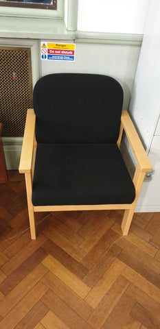 Black reception style chairs - Maple coloured wooden frame with arms