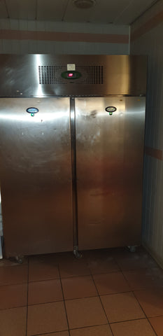 Industrial sized Foster double door fridge - brushed steel in good clean condition