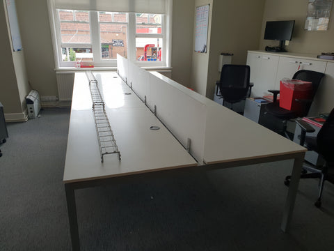 Frezza Bench Desking Selling as a bank of 6 comes with pedestals