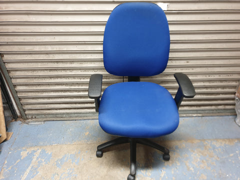 Occee Design Adjustable Task Chair in Blue Upholstery