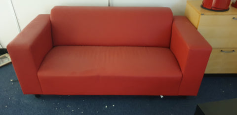 Large Red Vinyl Sofa - A Real Piece of 'Heart' History