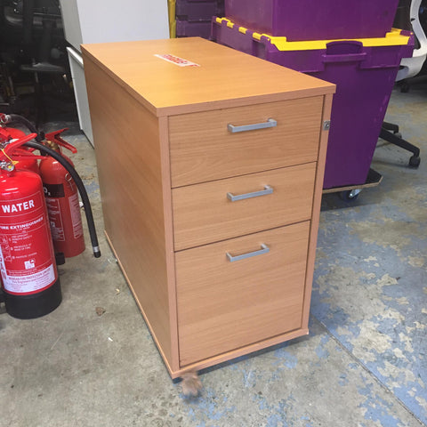 Large beech desk high pedestal lockable