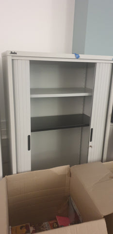 Silverline Tall Tambour Cabinet 2 Shelves