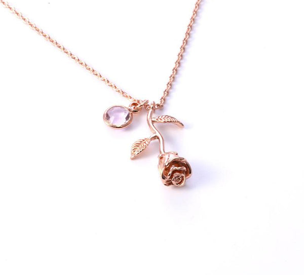 Birthstone Rose Necklace - Superlative Trends
