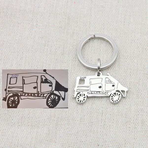 Customized Children's Drawing Keychain
