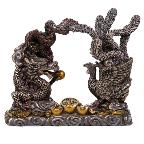 CHIPPED Fengsui Dragon & Phoenix Statue