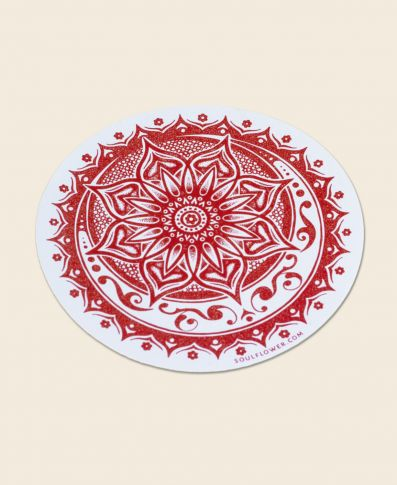 Red Sunflower Mandala Sticker