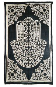 Black and White Hamsa Hand Tapestry TP006