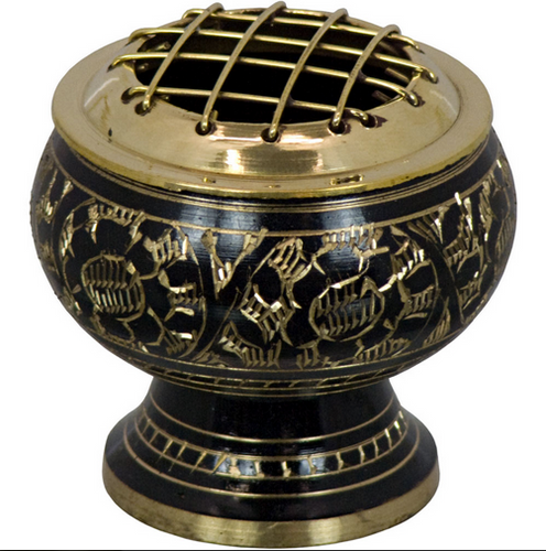 Brass Censer Burner (with engraved flowers)