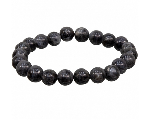Black Labradorite Bracelet 8mm Round Beads