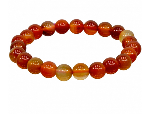 Brown and Red Agate Bracelet || 8mm Round Beads