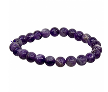 Chevron Amethyst Bracelet 8mm Round Beads