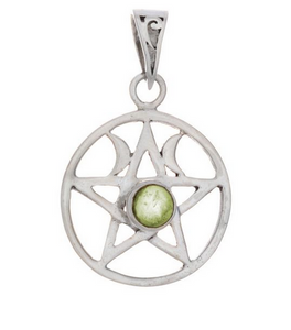 Double Moon Pentacle Pendant (with assorted stone)