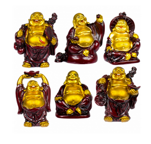 Happy Buddha Figurine (Gold or Red)