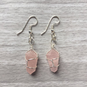 Rose Quartz Wire-Wrapped Point Earrings