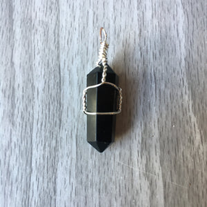 Black Tourmaline Wire-Wrapped  Pendant