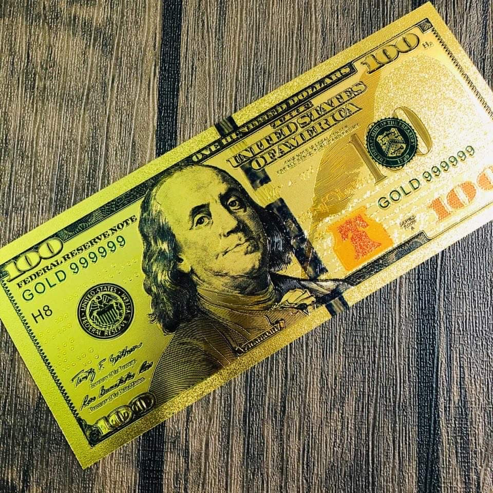 Lucky Golden $100 Bill