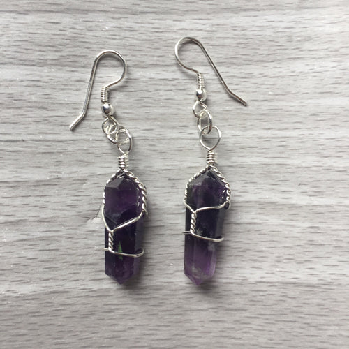 Amethyst Wire Wrapped Point Earrings