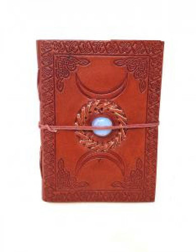 Leather Journal - Triple Moon With Gemstone