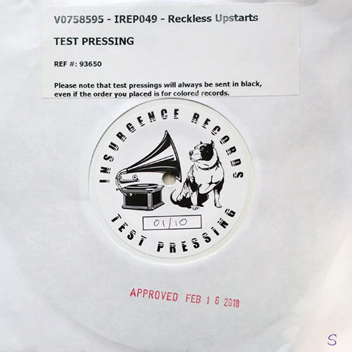 Reckless Upstarts / Streetlight Saints - split EP - TEST PRESS