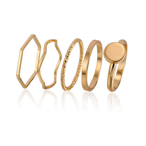 5 pcs Gold Stacking Rings