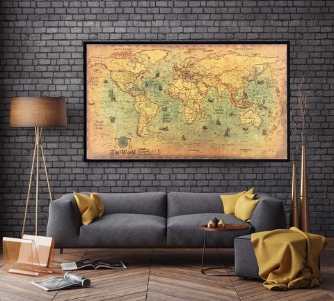 Vintage World Map Wall Decor