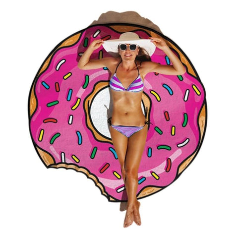 Gigantic Pizza Donut Beach Towel