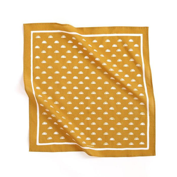 1canoe2 Gold Fan Bandana - Handkerchief - Neckerchief - Women's Accessory - Women's Clothing Store - Ladies Boutique - O KOO RAN - Big Bear Lake California