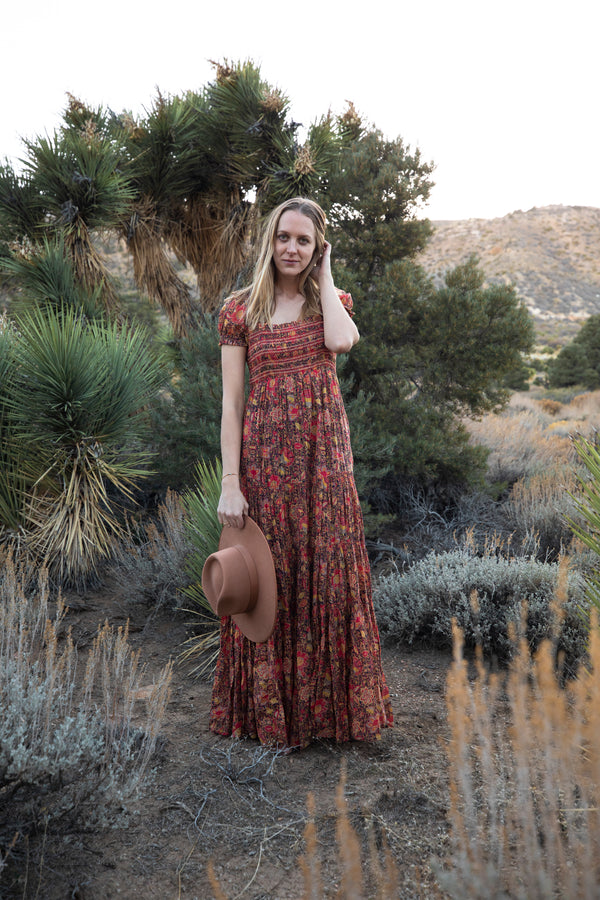 Free People Getaway Midi Dress - Floral Maxi Dress - Summer Dress - Women's Clothing Store - Women's Shoes - Shoe Store - Accessories - Lack of Color Teak Rancher - O KOO RAN - Big Bear Lake California