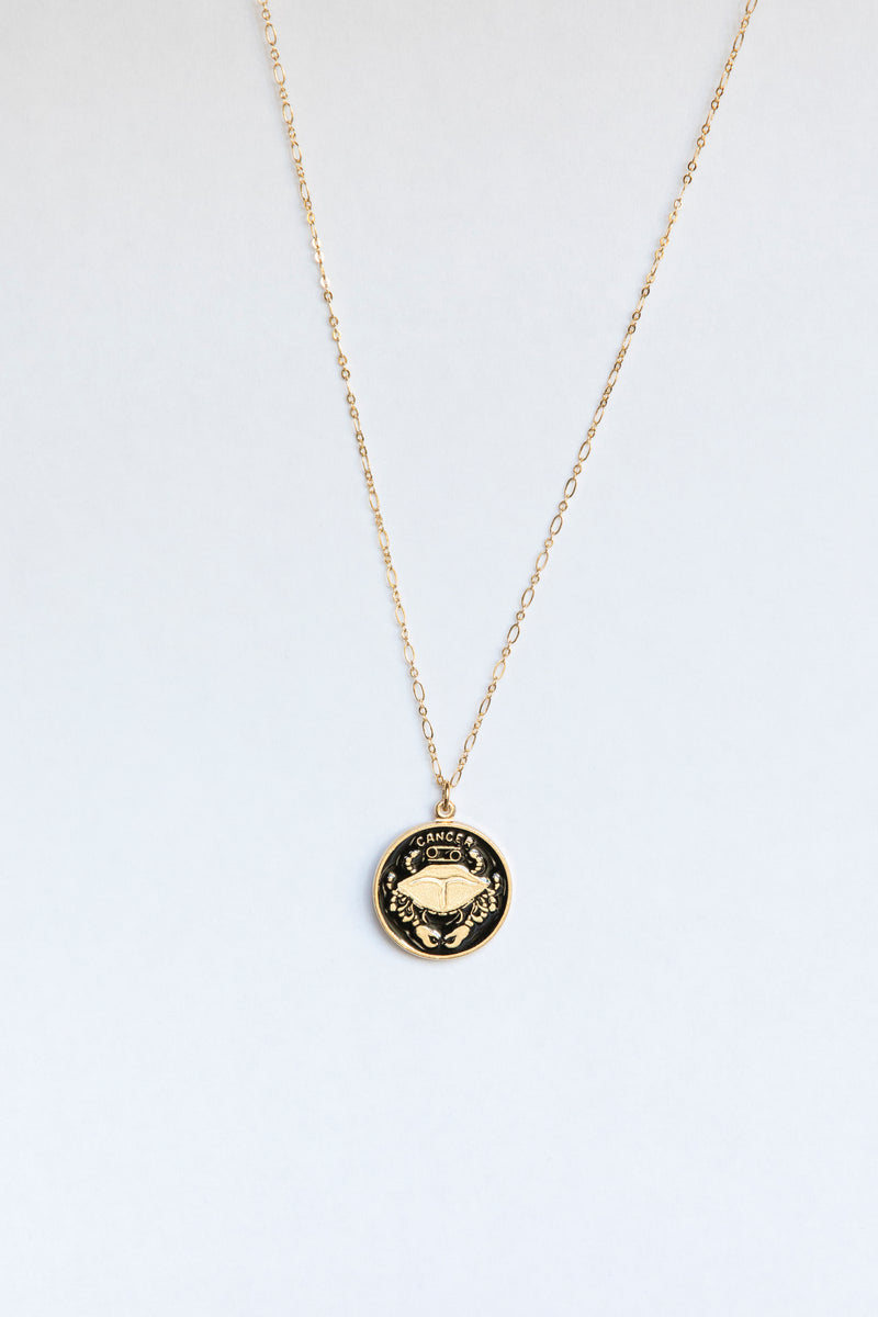 Black Zodiac Medallion Necklace