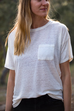 Thread & Supply Denison Tee - White Tee - Green Tee - T-Shirt - Women's Clothing Store - Women's Accessories - Ladies Boutique - O KOO RAN - Big Bear Lake California
