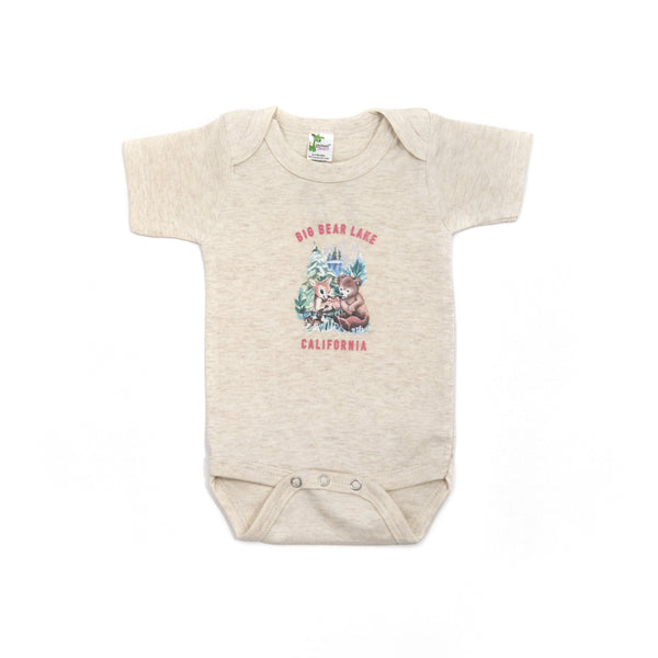 Forest Babies Short Sleeve Onesie - Cream Onesie - Infant One Piece - Children's Boutique - Baby Clothing Store - Big Bear Lake California - Camp Crib