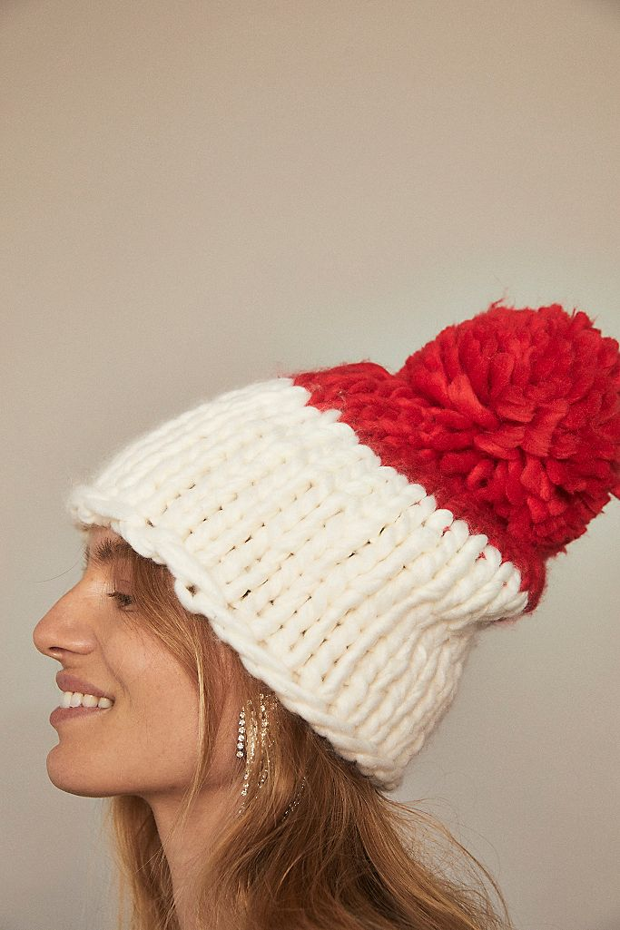 Cozy Up Color Block Pom Beanie