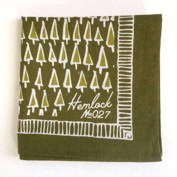 Hemlock Trees Bandana - Handkerchief - Neckerchief - Scarf - Accessory - Women's Clothing Store - Ladies Boutique - Women's Accessories - O KOO RAN - Big Bear Lake California