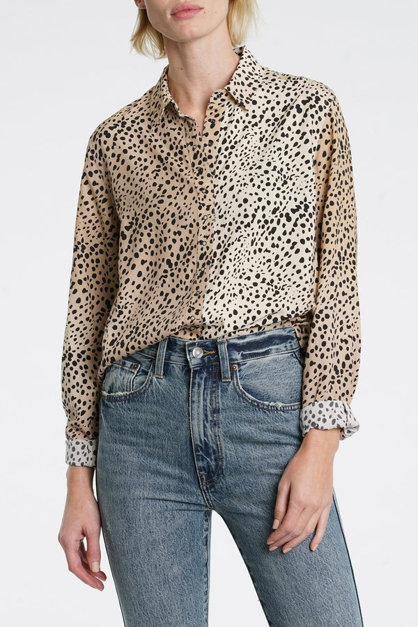 Pistola Denim Elle Buttonup - Leopard Top - Long Sleeve Shirt - Collared Shirt - Women's Clothing Store - Women's Accessories - Ladies Boutique - O KOO RAN - Big Bear Lake California