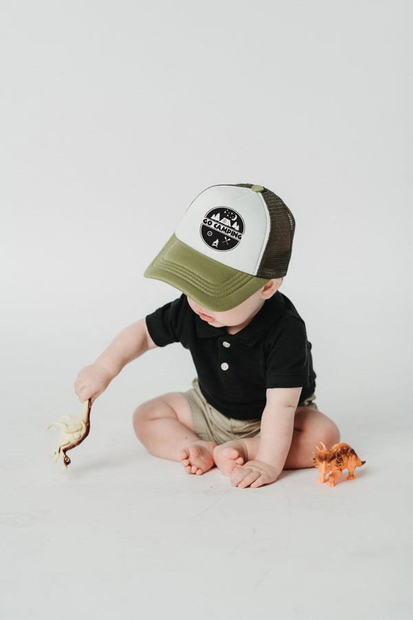 Tiny Trucker Co Go Camping Hat - Kid's Hat - Baby Hat - Camping Hat - Baby Trucker Hat - Toddler Hat - Trucker Hat - Baby Clothing Store - Infant Store - Camp Crib - Big Bear Lake California