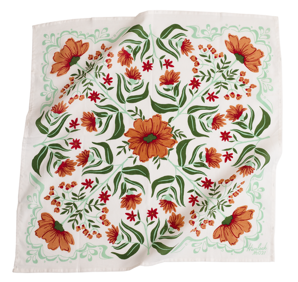 Hemlock Flora Bandana - Handkerchief - Neckerchief - Women's Clothing Store - Women's Shoes - Shoe Store - Accessories - O KOO RAN - Big Bear Lake California