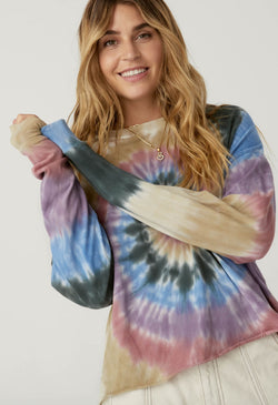 Autumn Tie Dye Cropped Long Sleeve