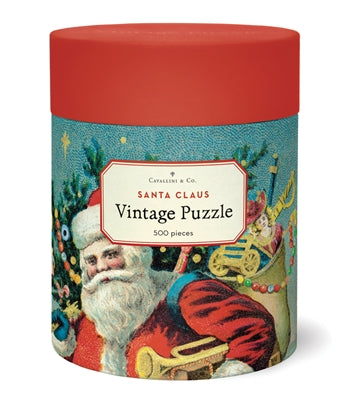 Cavallini Papers & Co. Santa Claus Vintage Puzzle - Santa Puzzle - Christmas Puzzle - Puzzle - Game - Cabin Game - Family Puzzle - Gifts & Games - Women's Clothing Store - Ladies Boutique - O KOO RAN - Big Bear Lake California