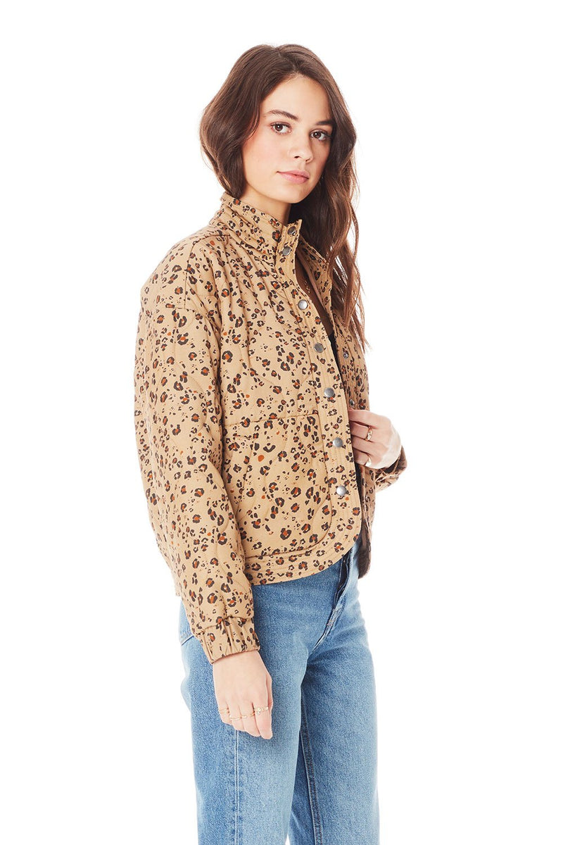 Saltwater Luxe Quilted Jacket - Leopard Bomber Jacket - Fall Jacket - Women's Clothing Store - Ladies Boutique - O KOO RAN - Big Bear Lake California