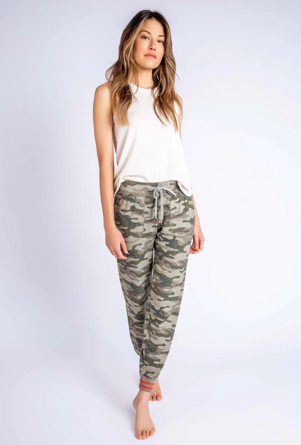 PJ Salvage In Command Banded Pant - Camo Pajamas - Women's Loungewear - Pajamas - PJ's - Women's Clothing Store - Ladies Boutique - O KOO RAN - Big Bear Lake California