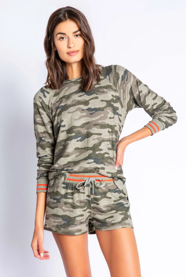 PJ Salvage In Command Long Sleeve - Camo Long Sleeve - Women's Loungewear - Pajamas - PJ's - Women's Clothing Store - Ladies Boutique - O KOO RAN - Big Bear Lake California