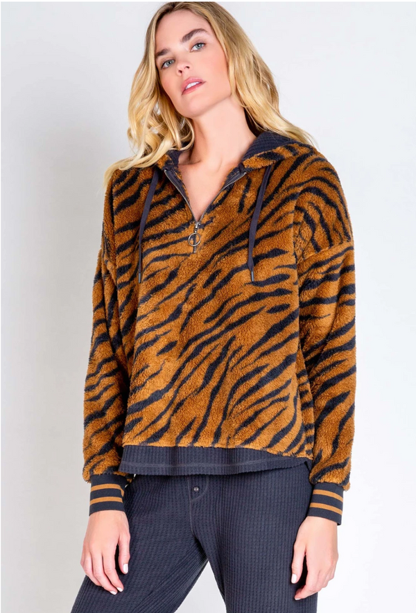 PJ Salvage Tiger Cozy Hoodie - Tiger Print Sweatshirt - Cozy Hoodie - Cozy Sweater - Women's Loungewear - Women's Clothing Store - Ladies Boutique - O KOO RAN - Big Bear Lake California